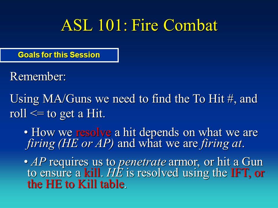 ASL 101: Fire Combat Remember: