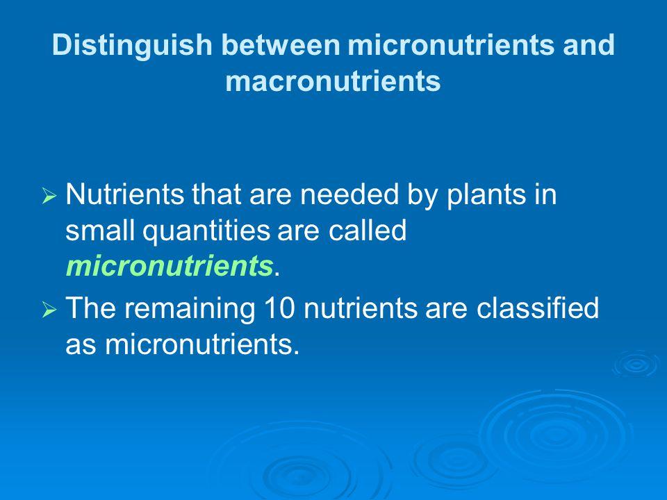 Distinguish between micronutrients and macronutrients