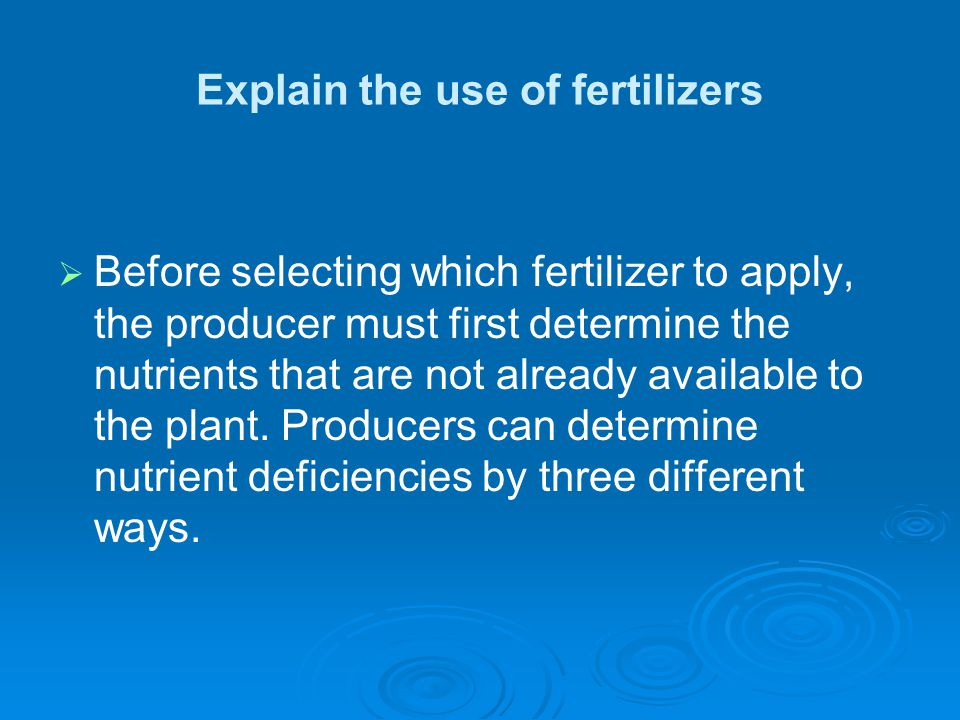 Explain the use of fertilizers