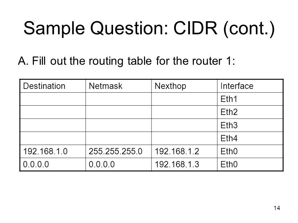Sample Question: CIDR (cont.)