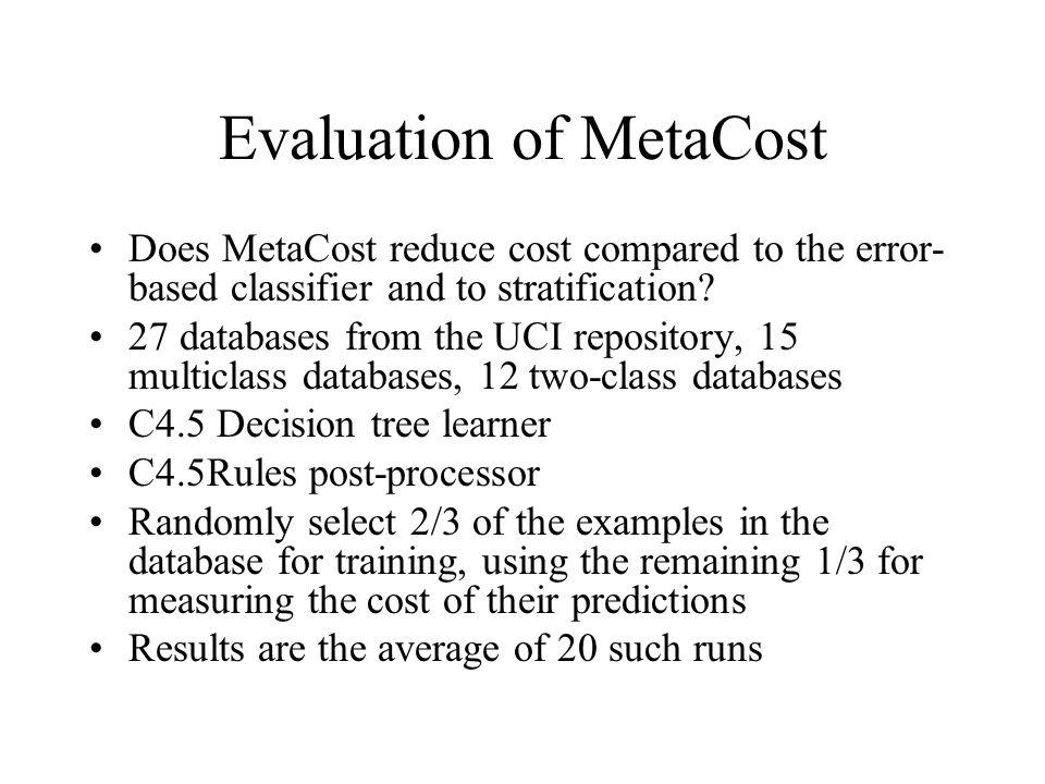 Evaluation of MetaCost