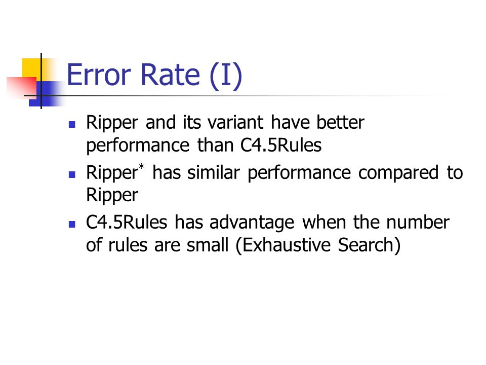 Error Rate (I) Ripper and its variant have better performance than C4.5Rules. Ripper* has similar performance compared to Ripper.