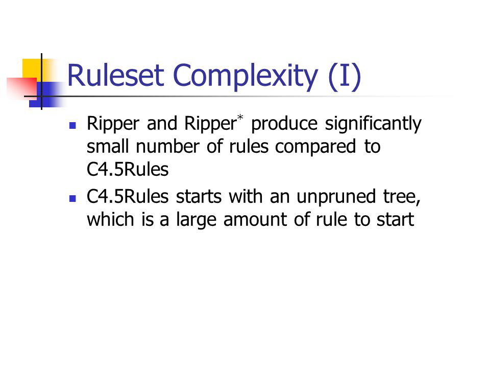 Ruleset Complexity (I)