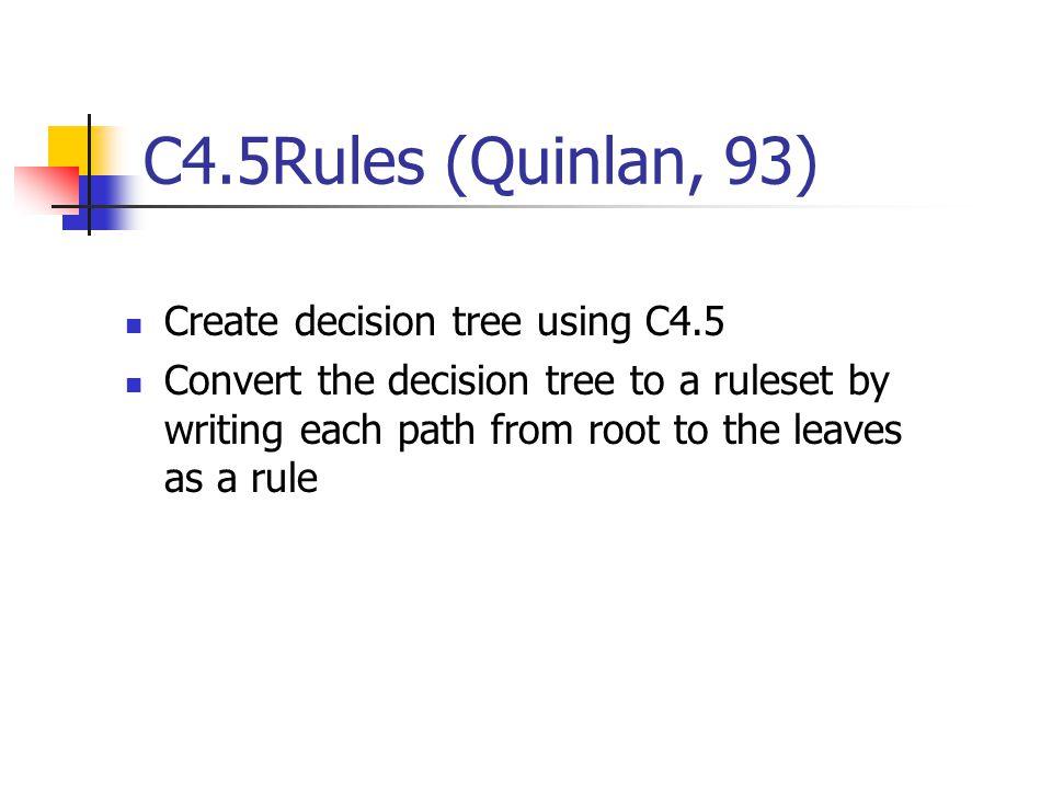 C4.5Rules (Quinlan, 93) Create decision tree using C4.5