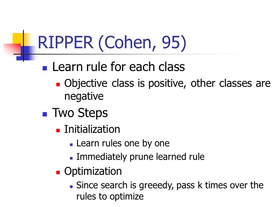 RIPPER (Cohen, 95) Learn rule for each class Two Steps