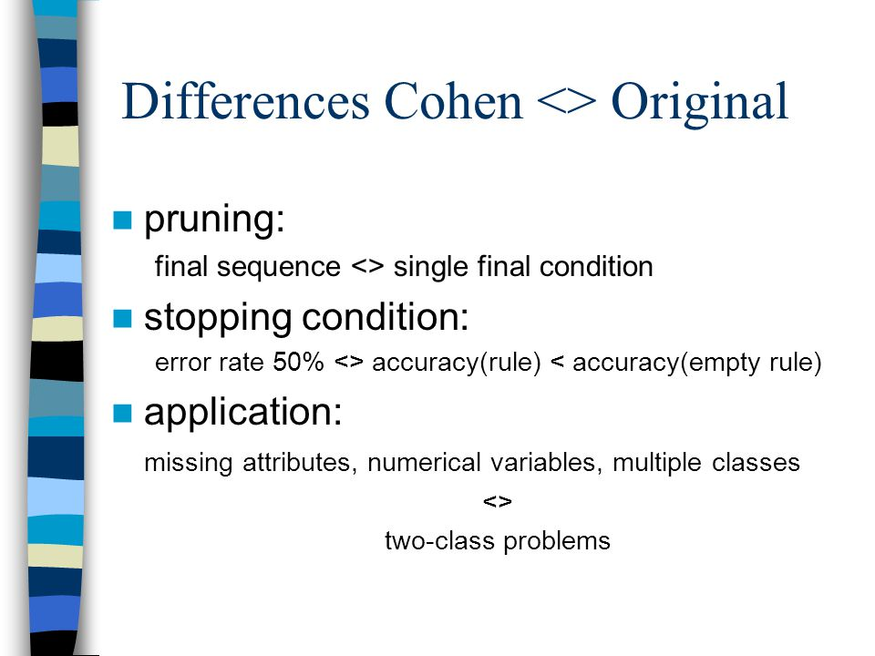 Differences Cohen <> Original