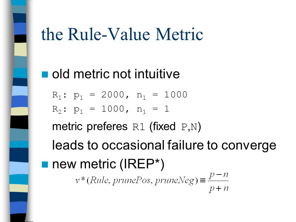 the Rule-Value Metric old metric not intuitive