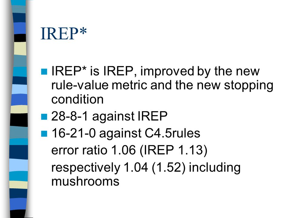 IREP* IREP* is IREP, improved by the new rule-value metric and the new stopping condition. 28-8-1 against IREP.