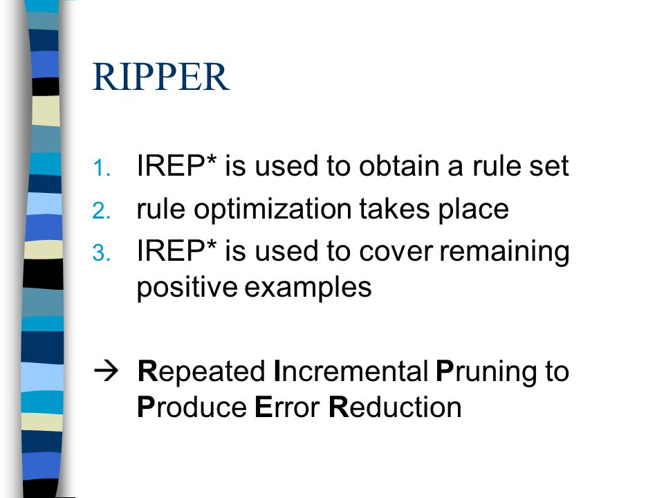 RIPPER IREP* is used to obtain a rule set
