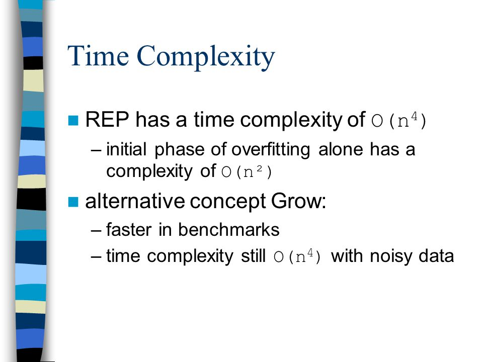 Time Complexity REP has a time complexity of O(n4)
