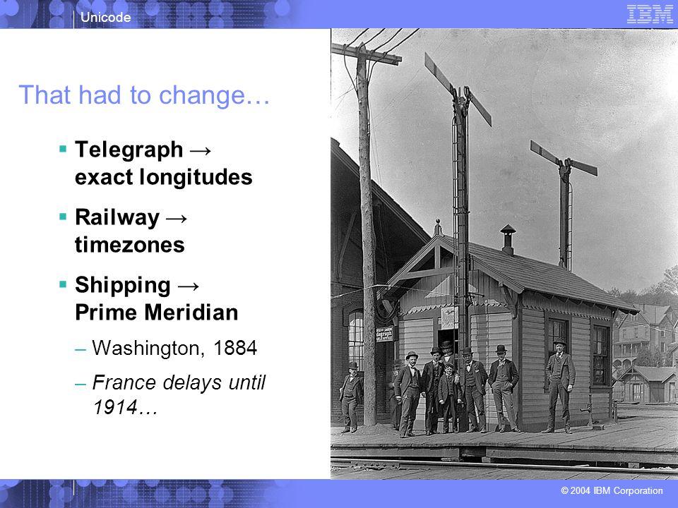 That had to change… Telegraph → exact longitudes Railway → timezones
