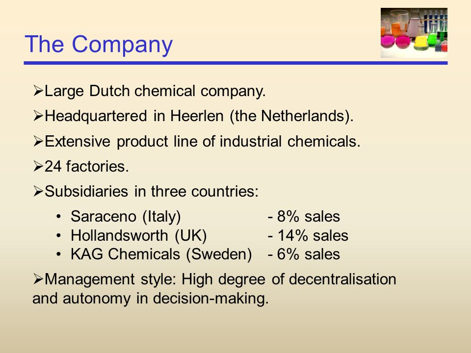 The Company Large Dutch chemical company.