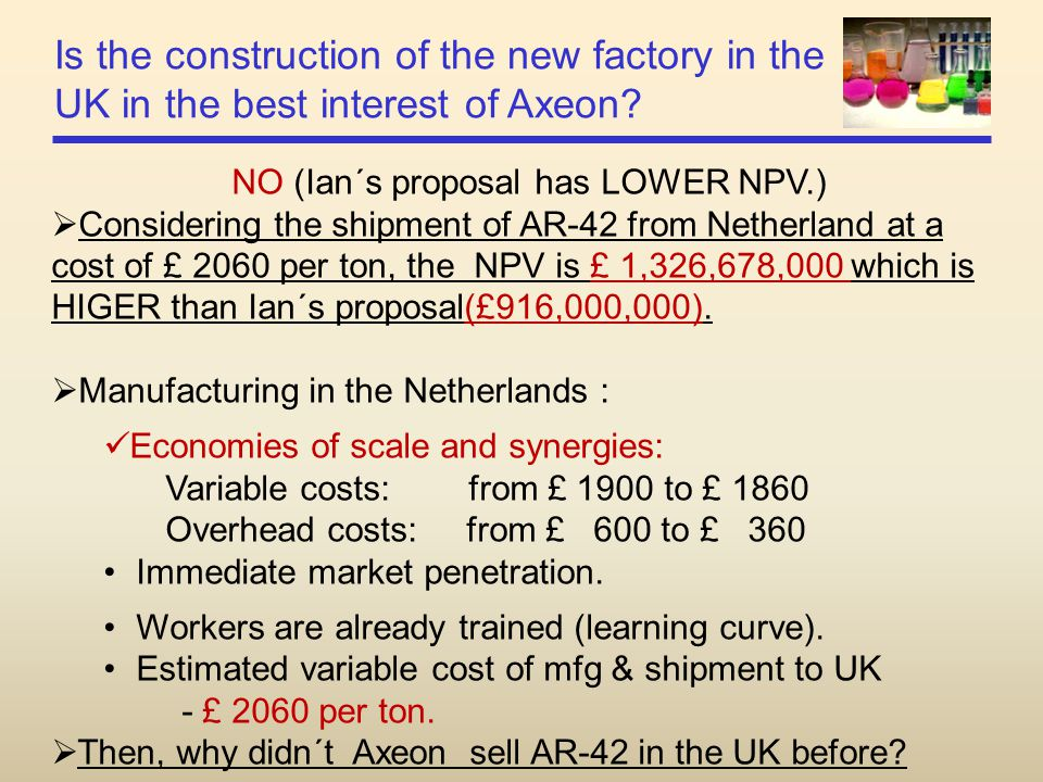 NO (Ian´s proposal has LOWER NPV.)