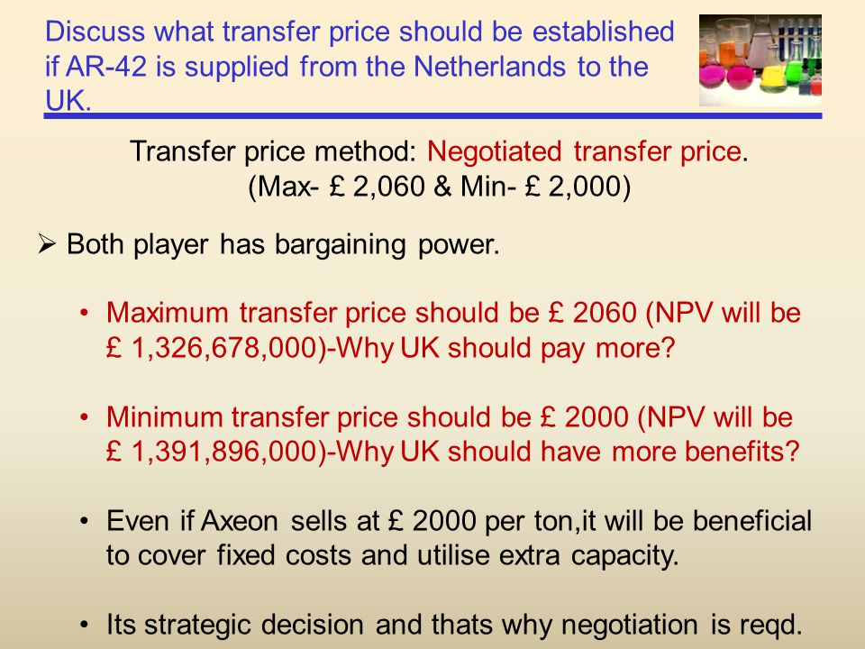 Transfer price method: Negotiated transfer price.