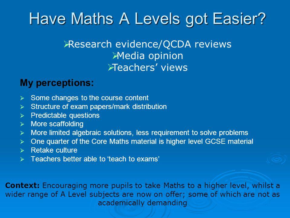 Have Maths A Levels got Easier