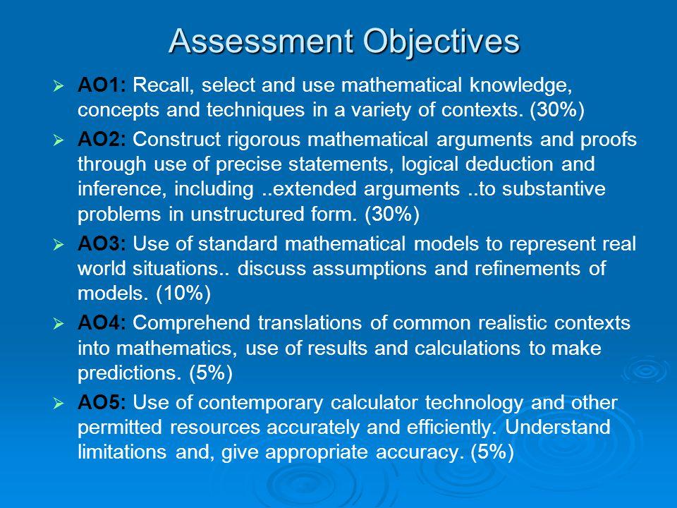 Assessment Objectives