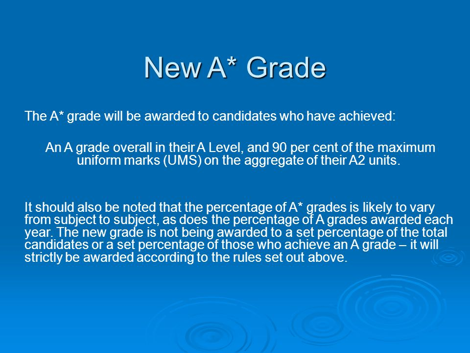 New A* Grade The A* grade will be awarded to candidates who have achieved:
