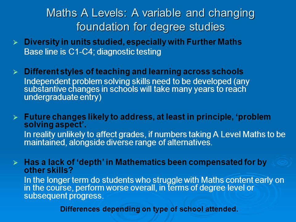 Maths A Levels: A variable and changing foundation for degree studies