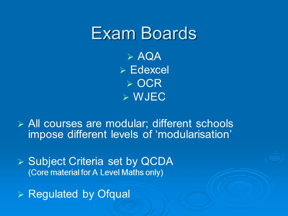 Exam Boards AQA Edexcel OCR WJEC