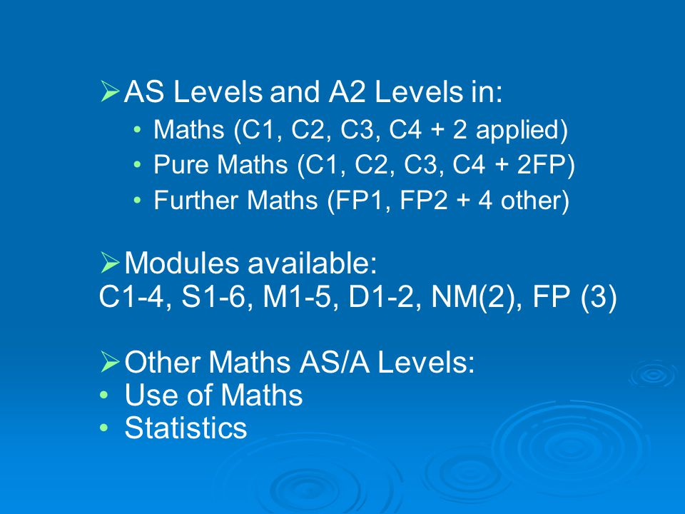 AS Levels and A2 Levels in: