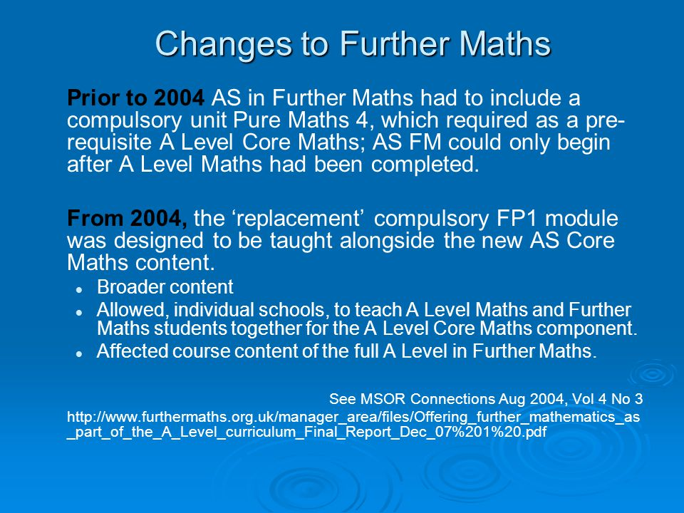 Changes to Further Maths
