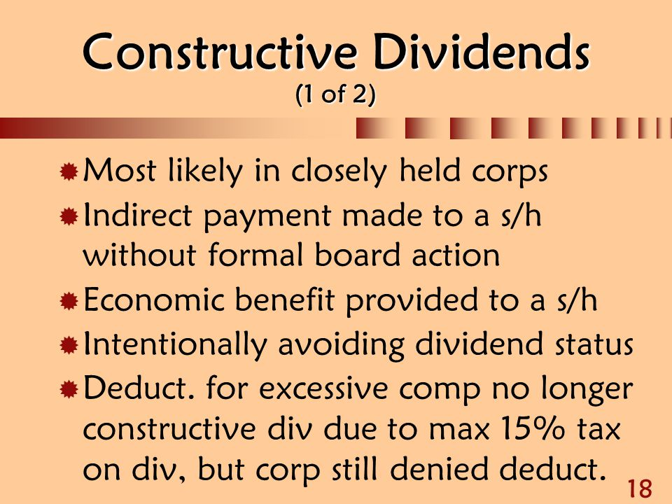 Constructive Dividends (1 of 2)