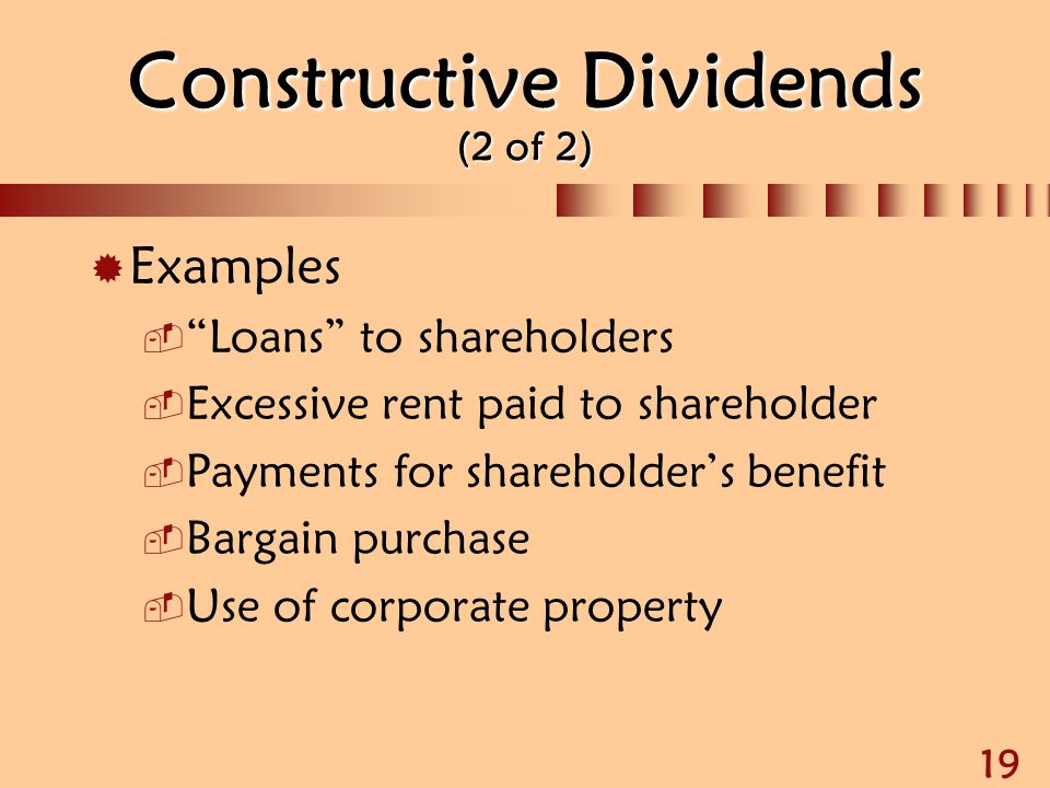 Constructive Dividends (2 of 2)