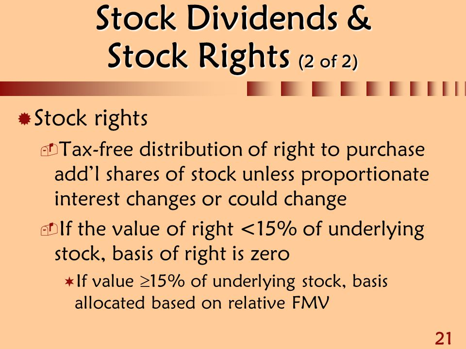 Stock Dividends & Stock Rights (2 of 2)