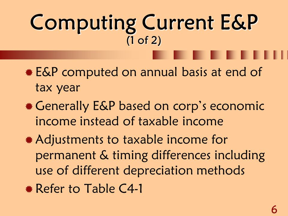 Computing Current E&P (1 of 2)