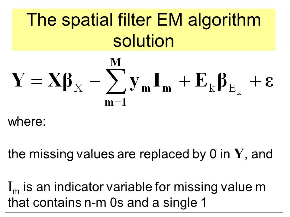 The spatial filter EM algorithm solution