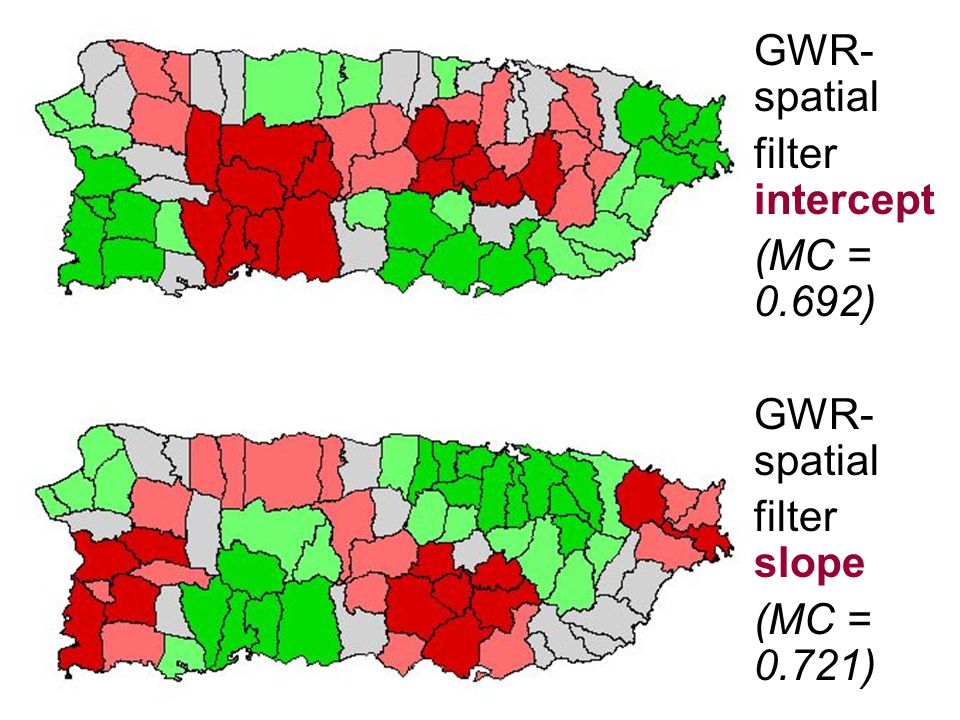 GWR-spatial filter intercept (MC = 0.692) filter slope (MC = 0.721)