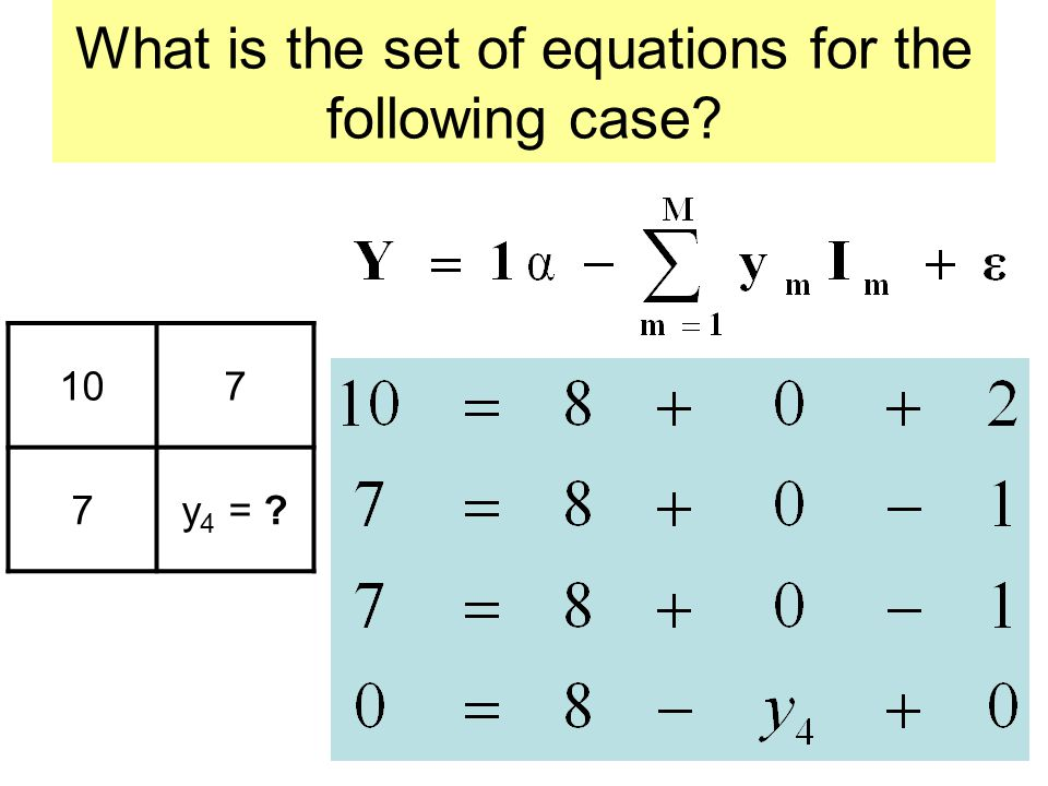 What is the set of equations for the following case