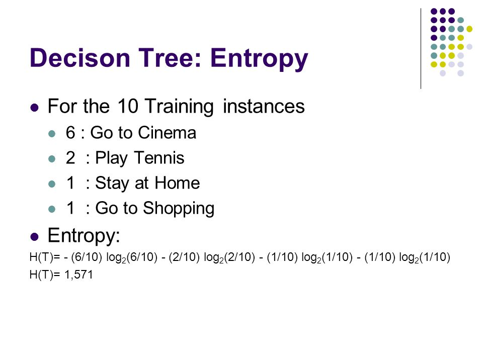 Decison Tree: Entropy For the 10 Training instances Entropy:
