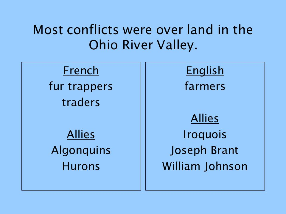 Most conflicts were over land in the Ohio River Valley.