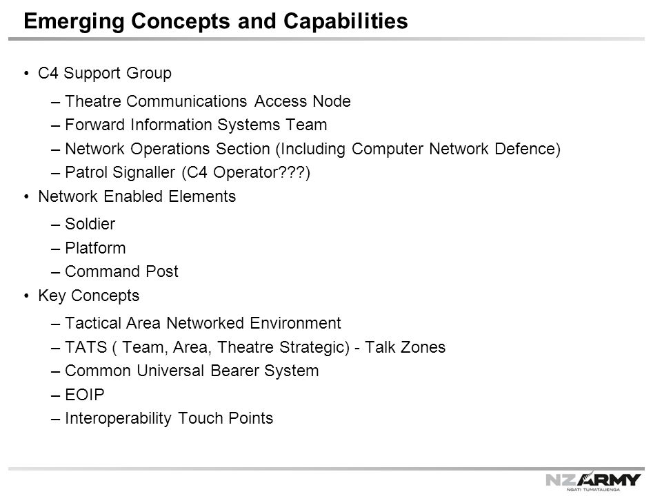 Emerging Concepts and Capabilities