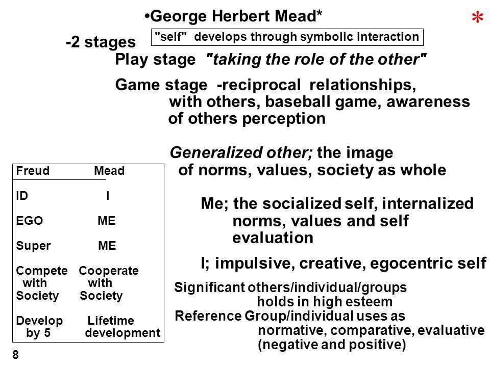* •George Herbert Mead* -2 stages
