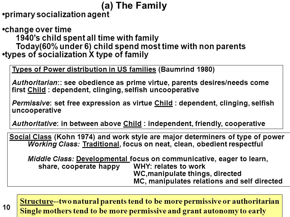 (a) The Family •primary socialization agent •change over time