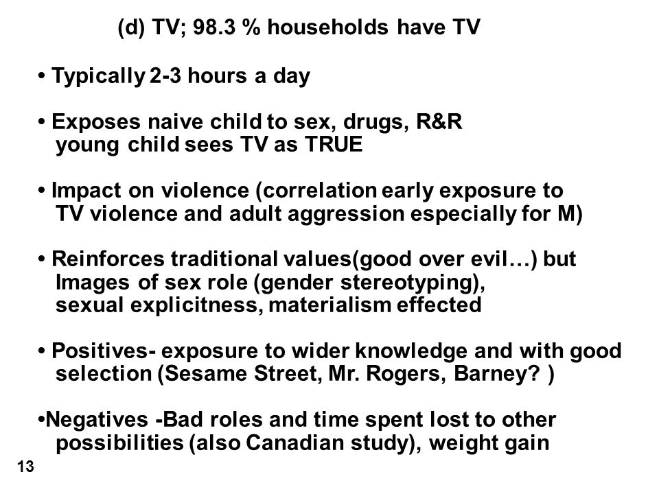 (d) TV; 98.3 % households have TV