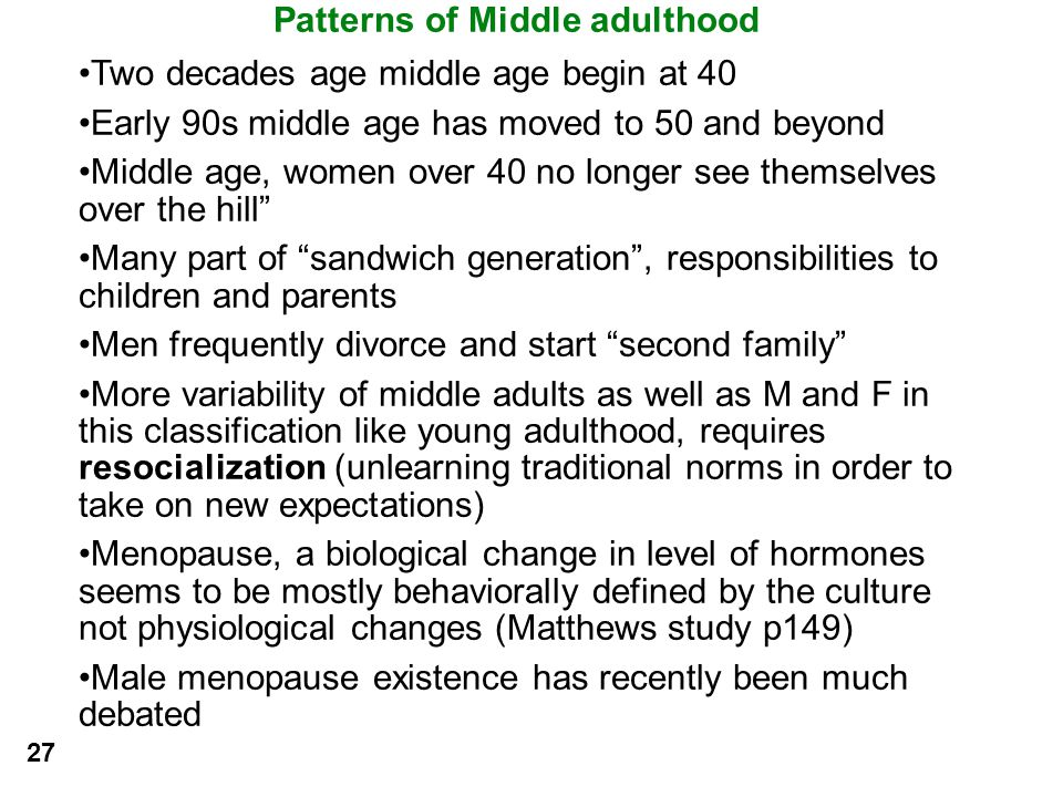 Patterns of Middle adulthood
