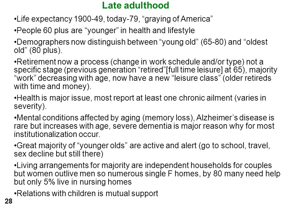 Late adulthood Life expectancy 1900-49, today-79, graying of America