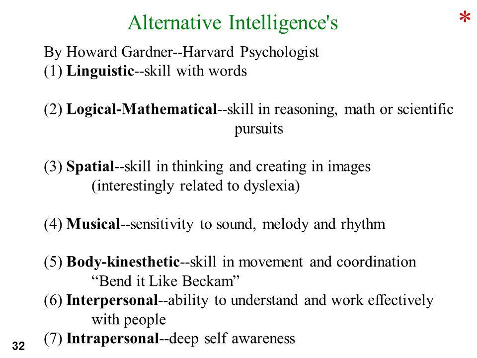 * Alternative Intelligence s By Howard Gardner--Harvard Psychologist