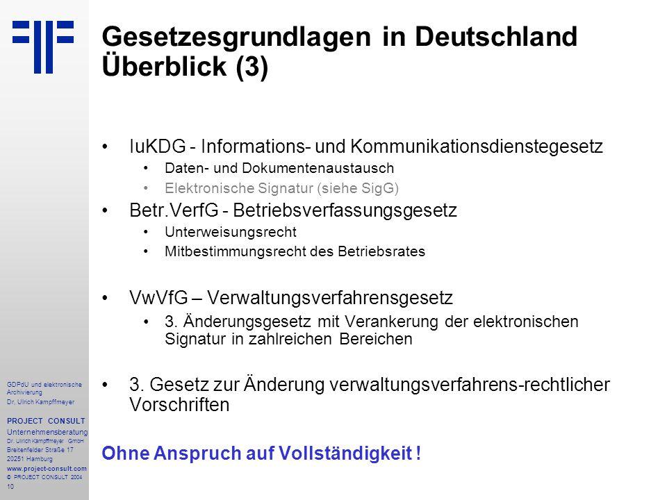 Gesetzesgrundlagen in Deutschland Überblick (3)