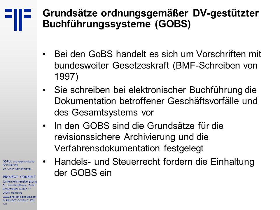 Grundsätze ordnungsgemäßer DV-gestützter Buchführungssysteme (GOBS)