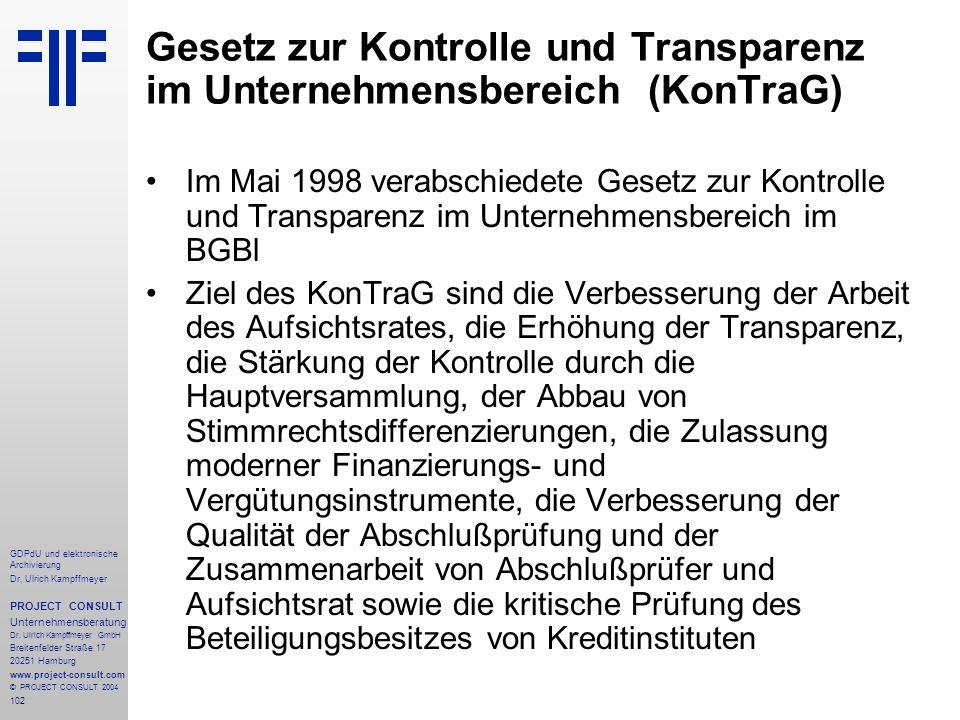 Gesetz zur Kontrolle und Transparenz im Unternehmensbereich (KonTraG)