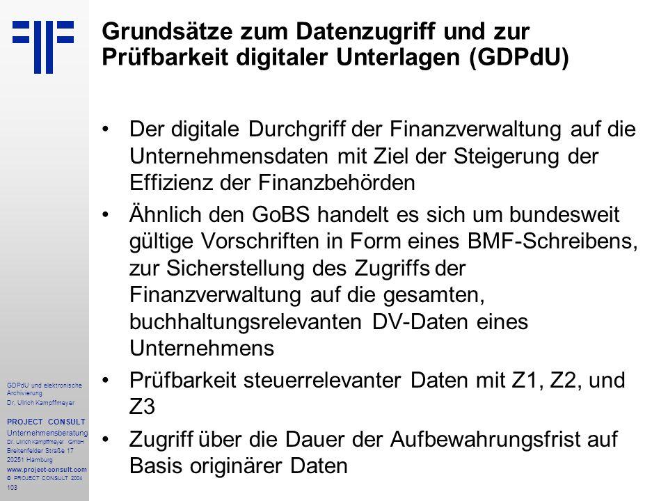 Grundsätze zum Datenzugriff und zur Prüfbarkeit digitaler Unterlagen (GDPdU)