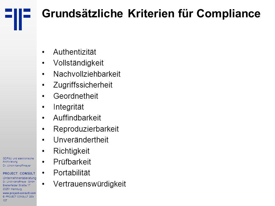 Grundsätzliche Kriterien für Compliance