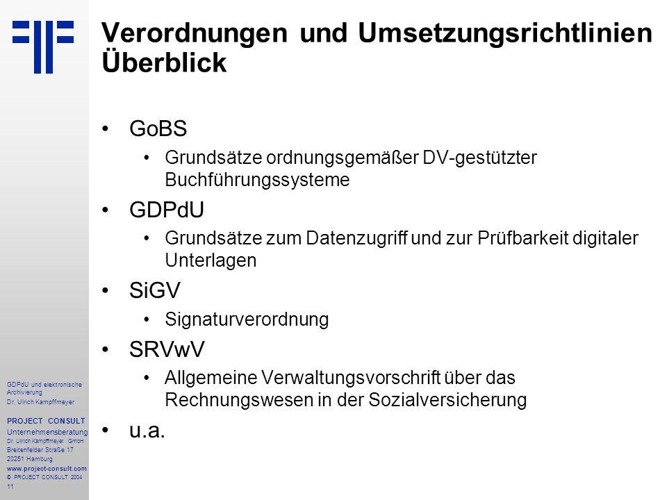 Verordnungen und Umsetzungsrichtlinien Überblick