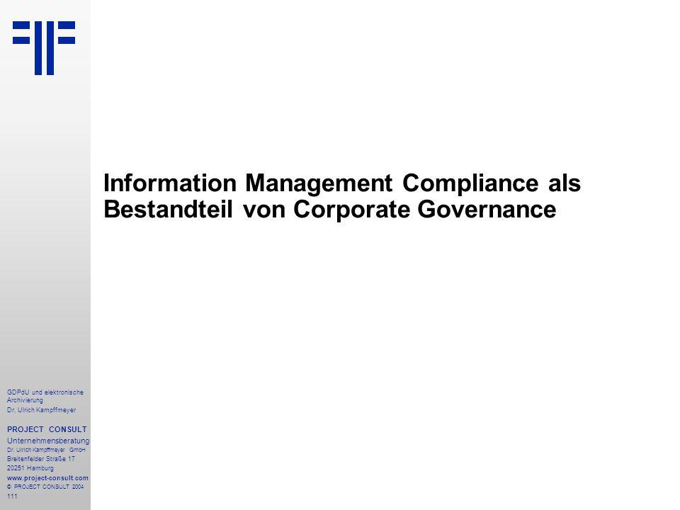 Information Management Compliance als Bestandteil von Corporate Governance