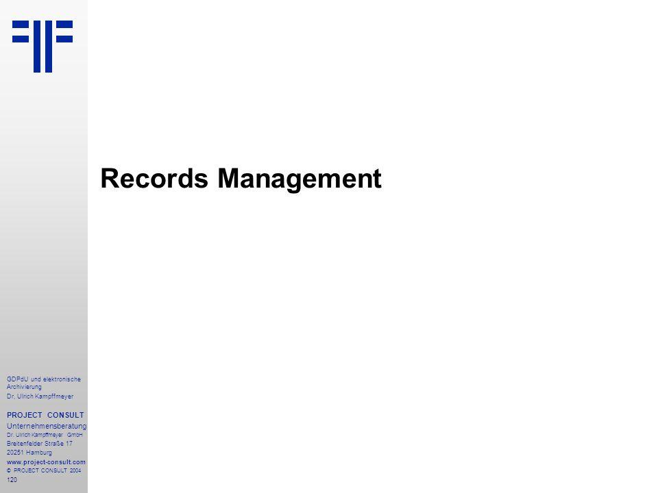 Records Management PROJECT CONSULT Unternehmensberatung