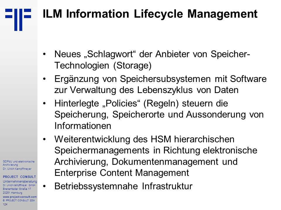ILM Information Lifecycle Management